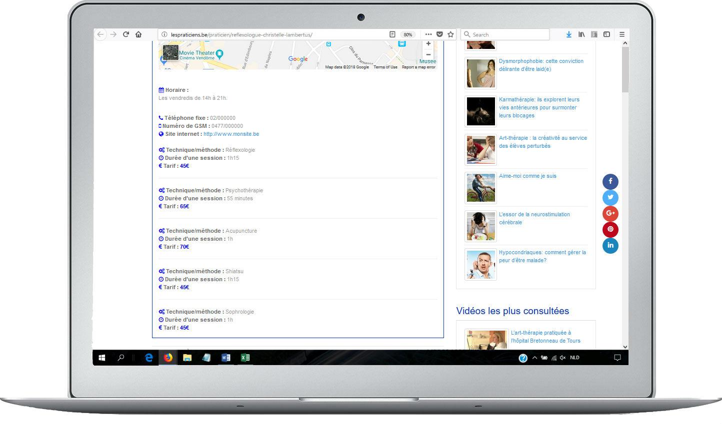 example de page de profil - bas de page