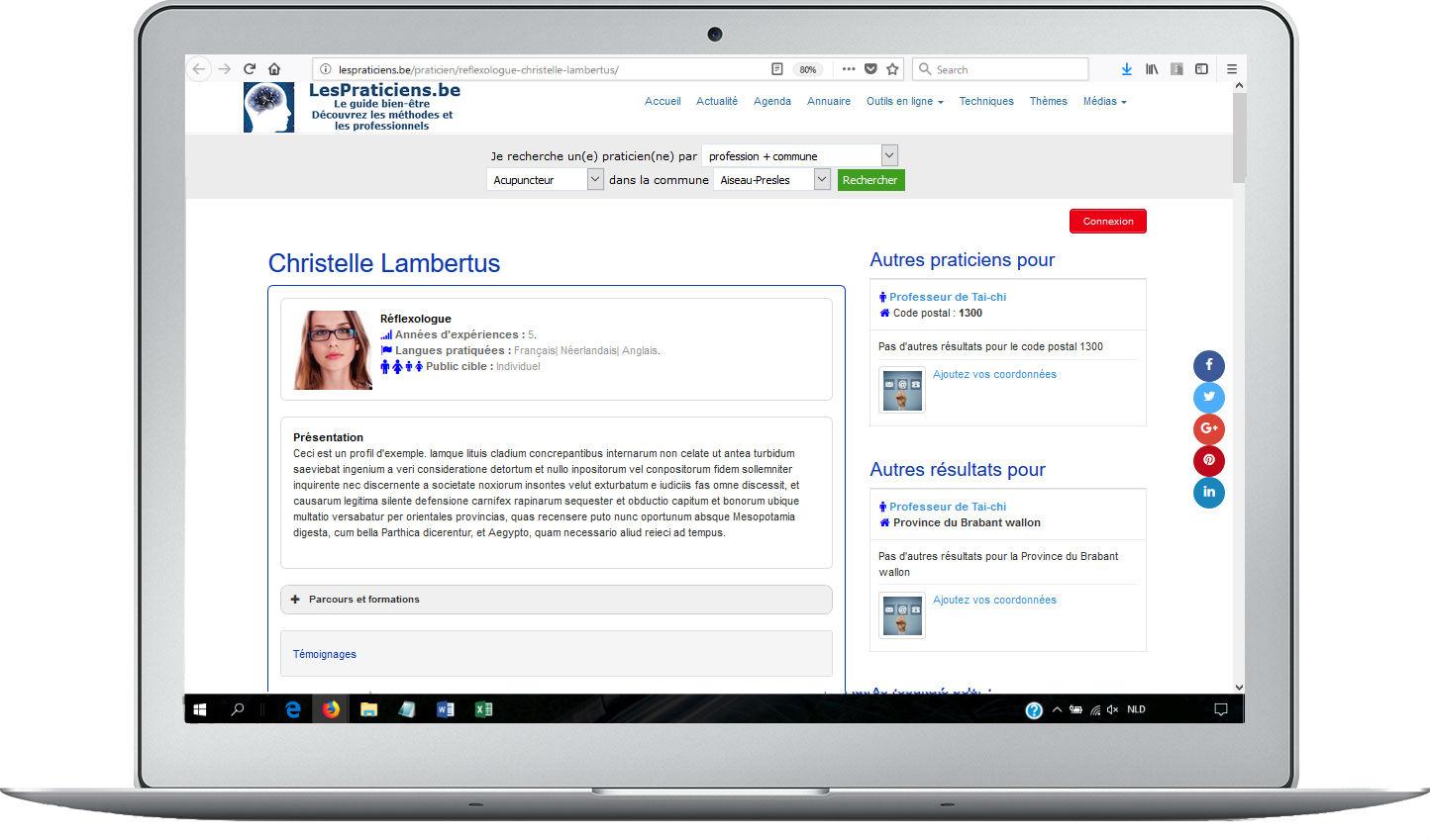 example de page de profil - haut de page