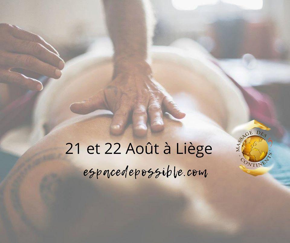 """Formation certifiante """"Massage des 5 Continents"""" à Liège"""