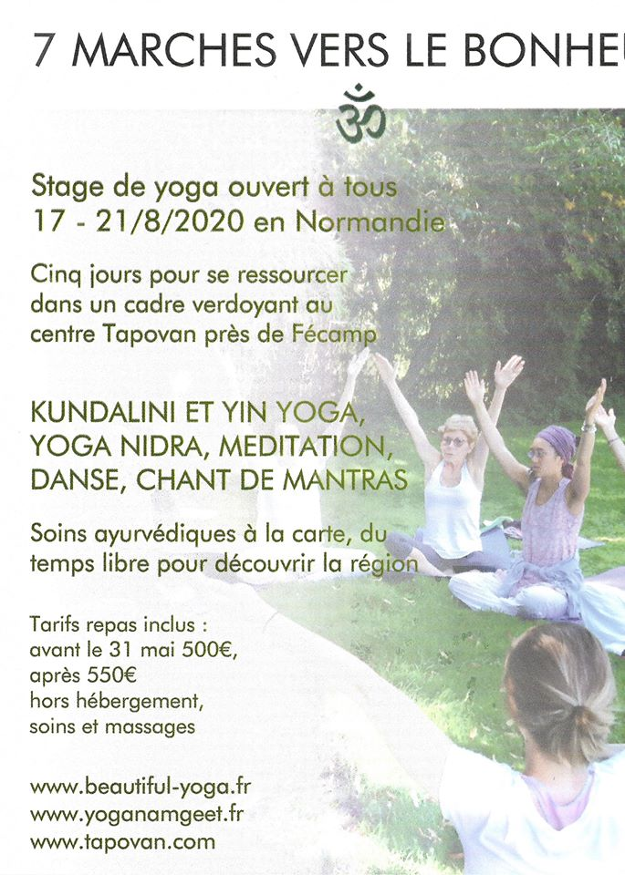 Stage de yoga en Normandie 17-21/8/2020